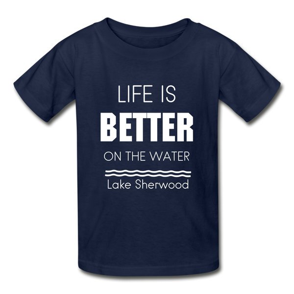Life is Better Lake Sherwood Youth Tee - navy