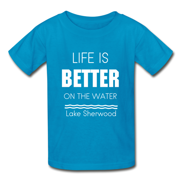 Life is Better Lake Sherwood Youth Tee - turquoise