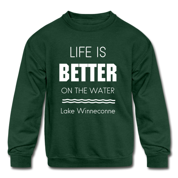 Life is Better Lake Winneconne Youth Crewneck Sweatshirt - forest green