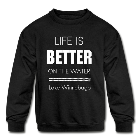 Life is Better Lake Winnebago Youth Crewneck Sweatshirt - black