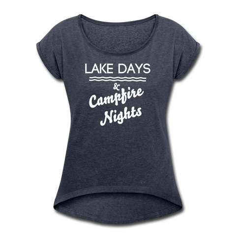 Lake Days & Campfire Nights Women's Tee - navy heather