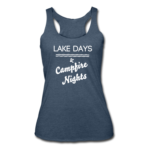 Lake Days & Campfire Nights Tank - heather navy