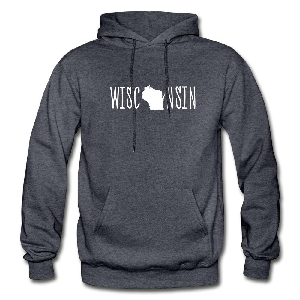 Wisconsin Hoodie - charcoal gray