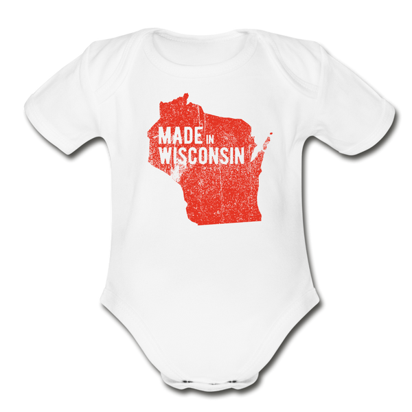 Made in WI Organic Short Sleeve Baby Bodysuit - white