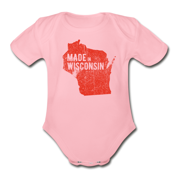 Made in WI Organic Short Sleeve Baby Bodysuit - light pink
