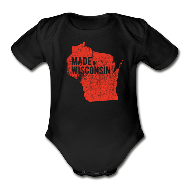 Made in WI Organic Short Sleeve Baby Bodysuit - black