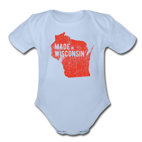 Made in WI Organic Short Sleeve Baby Bodysuit - sky