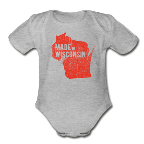 Made in WI Organic Short Sleeve Baby Bodysuit - heather gray