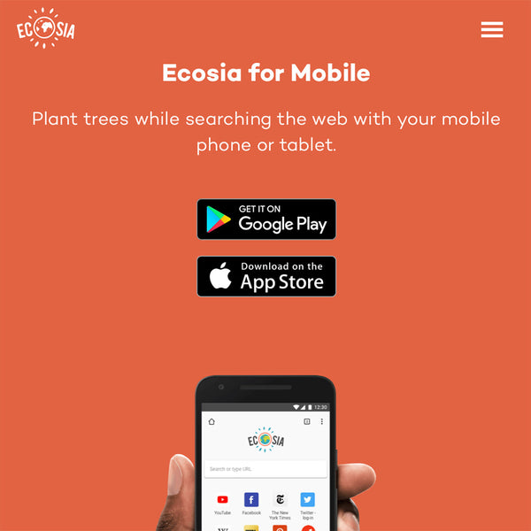 Ecosia Mobile app: planet trees while you search
