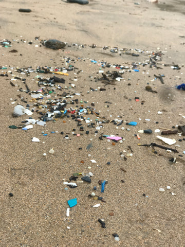 Ocean plastic nurdles at high tideline