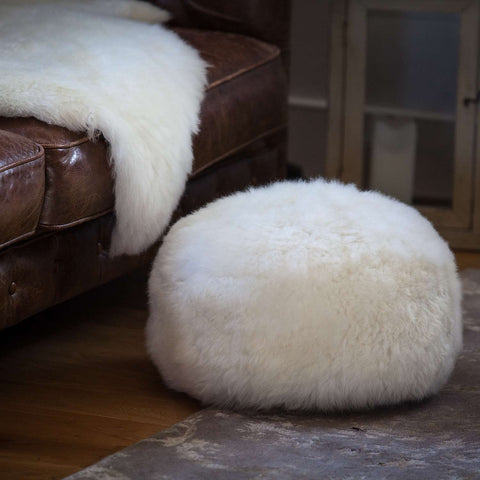 Natural sheepskin footstool
