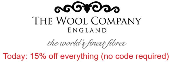 The Wool Company Fleecy Horns Logo with 15% off everything today