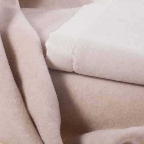 Lussuoso Cashmere Double Sided Blanket Sand and Cream