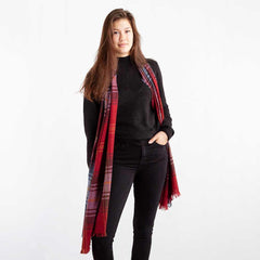 Tartan Cashmere Wool Blend Stole in Ruby Brock