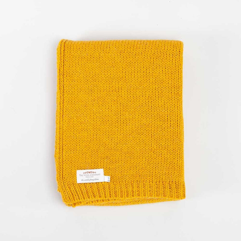 Alpaca Knitted Throw Mustard -  - LIVING  from The Wool Company