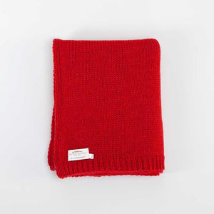 Alpaca Knitted Throw Red -  - LIVING  from The Wool Company