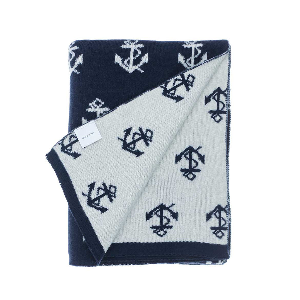 Buy Anchor Baby Blanket Navy From The Wool Company Online
