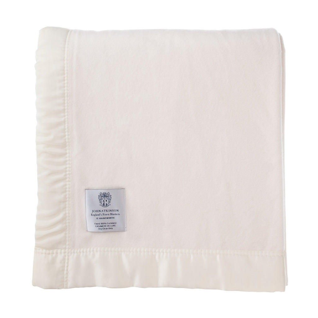 Atkinson Cashmere De Luxe Blanket White 230 x 255 cm Double LUXURY BEDDING The Wool Company