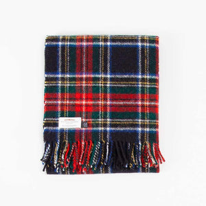 Black Stewart Tartan Check Pure New Wool Knee Rug -  - LIVING  from The Wool Company