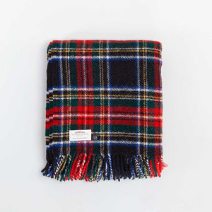 Black Stewart Tartan Check Pure New Wool Throw -  - LIVING  from The Wool Company
