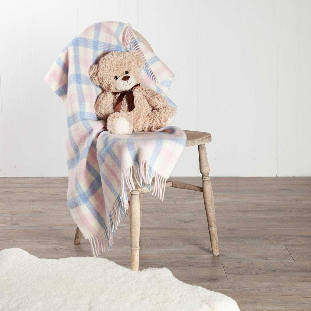 Buy Blue and Pink Check Wool Baby Blanket From The Wool Company Online