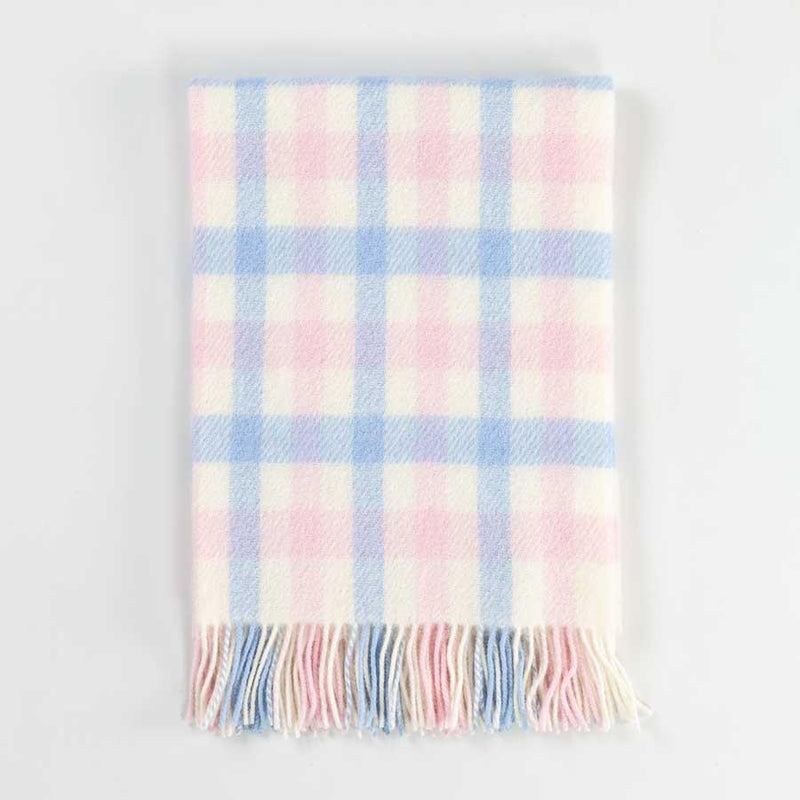 Blue and Pink Check Wool Baby Blanket -  - BABY  from The Wool Company