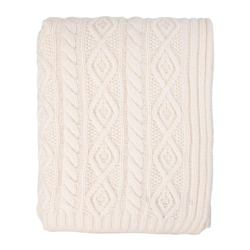 Campania Aran Style Knit Throw Natural Ivory LIVING The Wool Company