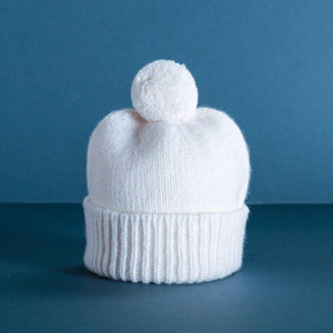 Cashmere Baby Pom Pom Hat Ivory -  - BABY  from The Wool Company