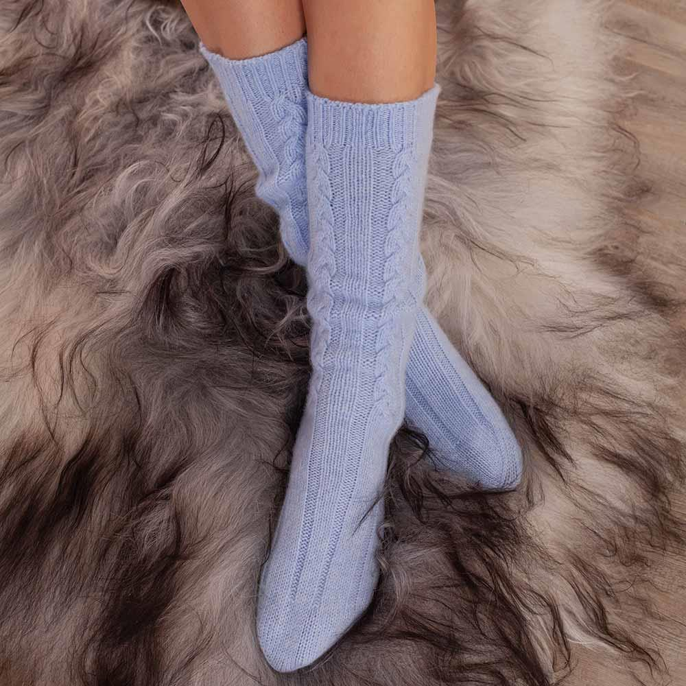 Cashmere Bed Socks Blue 4-7 -  - CLOTHING  from The Wool Company