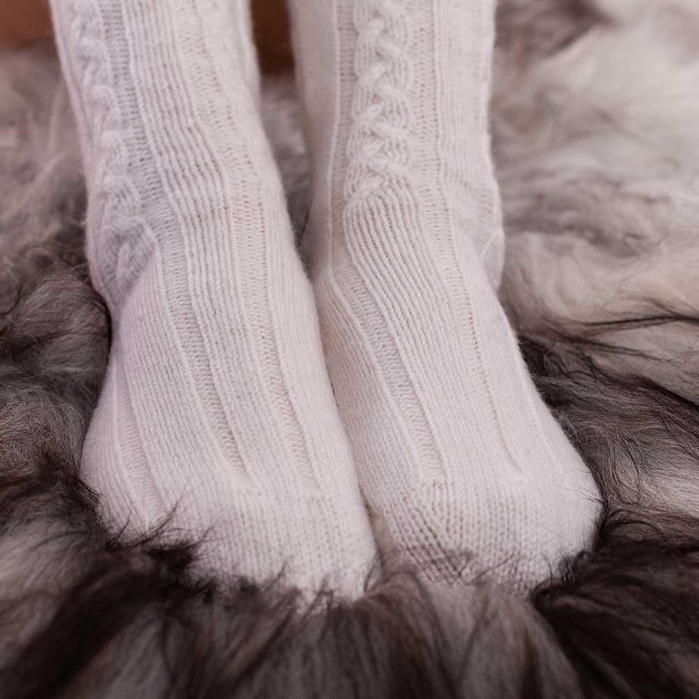 Cashmere Bed Socks Cream 4-7 -  - CLOTHING  from The Wool Company