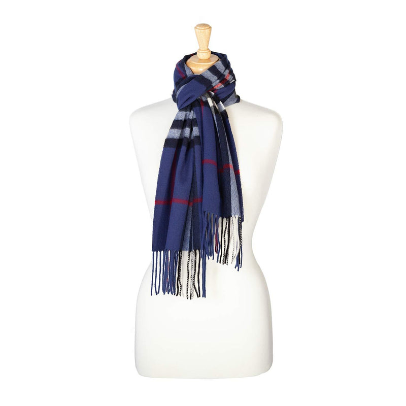 Cashmere Blend Scarf Classic Blue Check -  - CLOTHING  from The Wool Company
