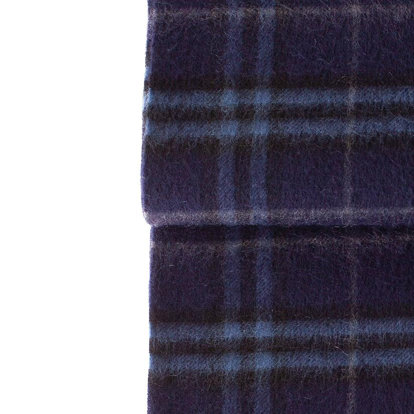 Cashmere Blend Scarf Dark Blue Check CLOTHING The Wool Company