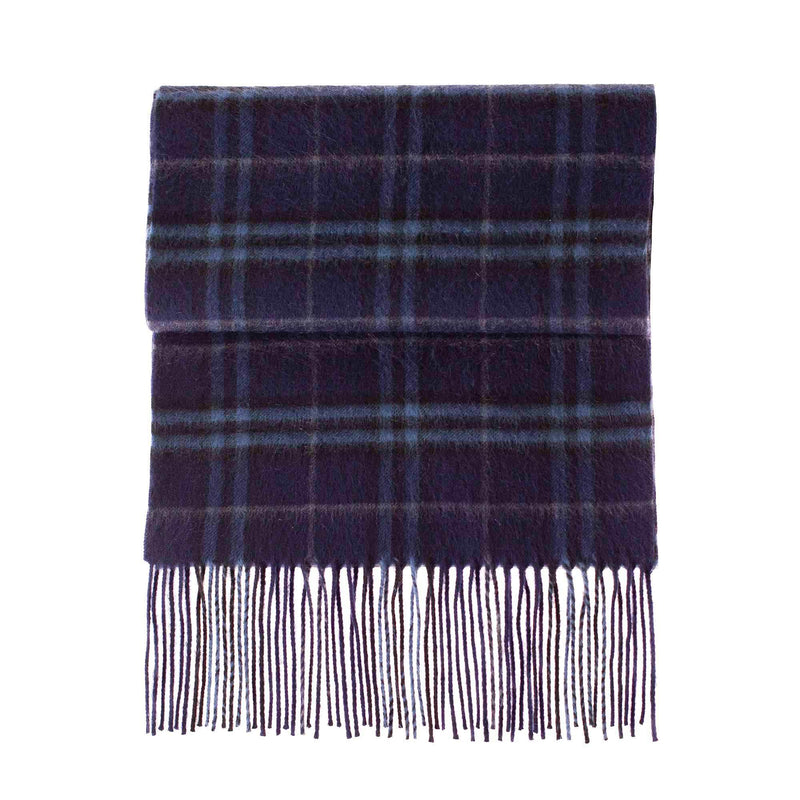 Cashmere Blend Scarf Dark Blue Check -  - CLOTHING  from The Wool Company