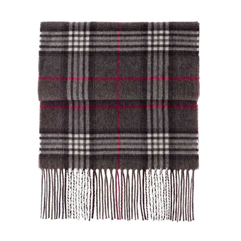 Cashmere Blend Scarf Dark Grey Grid Check CLOTHING The Wool Company