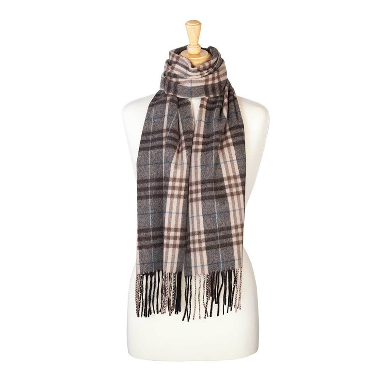 Cashmere Blend Scarf Grey Check -  - CLOTHING  from The Wool Company
