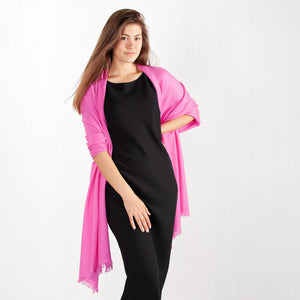 Cashmere Pashmina Dark Pink -  - CLOTHING  from The Wool Company