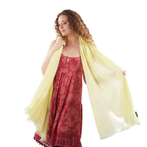 Cashmere Pashmina Lemon -  - CLOTHING  from The Wool Company