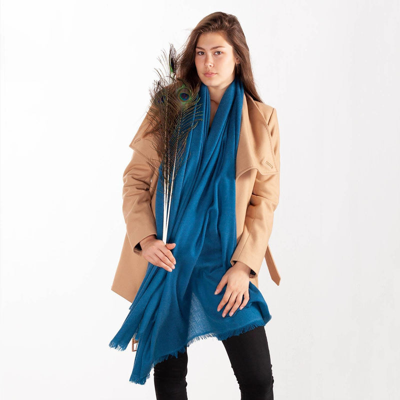 Cashmere Pashmina Teal -  - CLOTHING  from The Wool Company