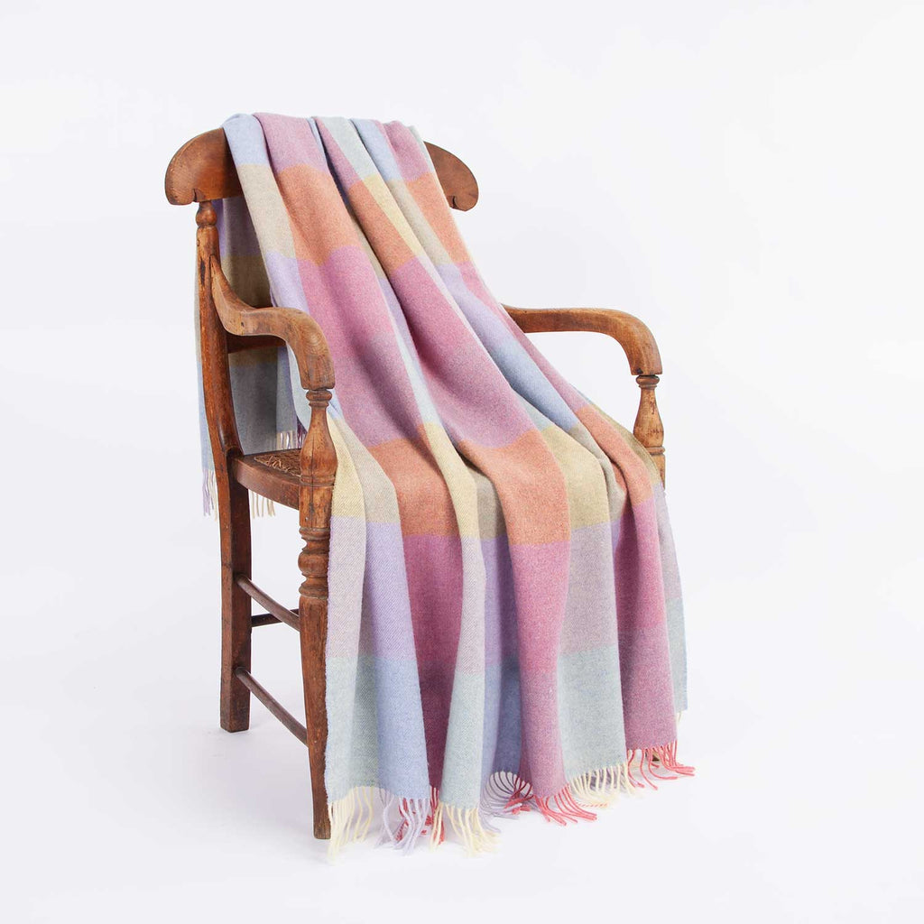 Check Lambswool Throw Pastel LIVING The Wool Company