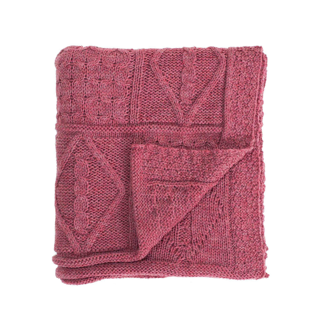 Chunky Aran Knit Throw Berry LIVING The Wool Company