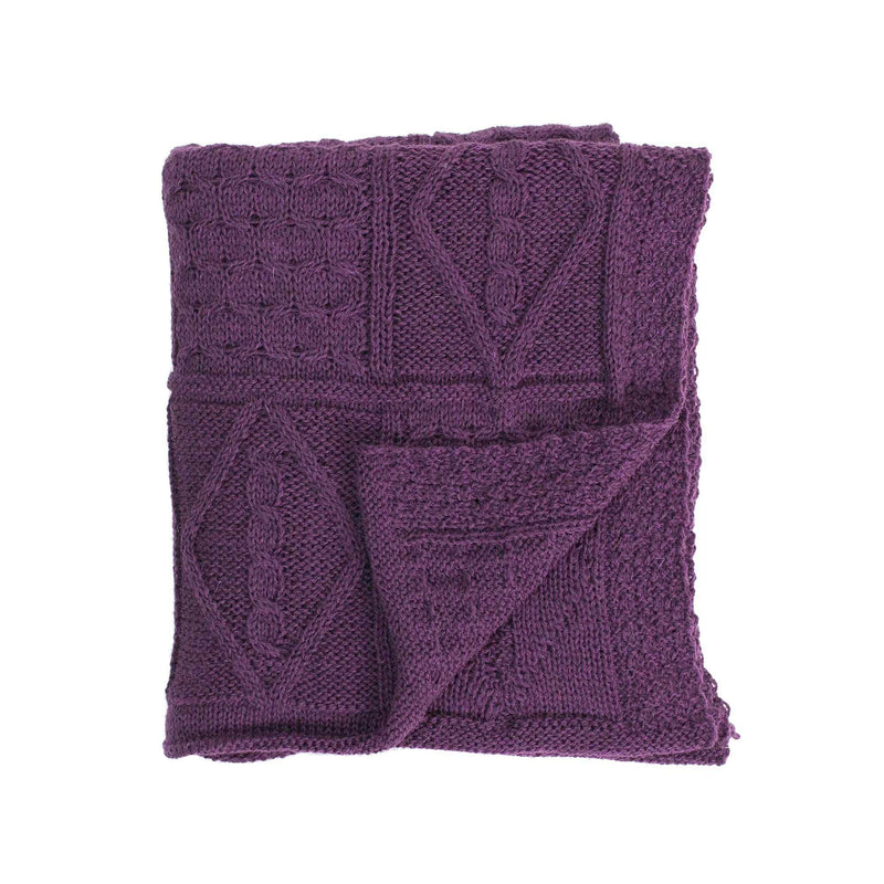 Chunky Aran Knit Throw Damson LIVING The Wool Company