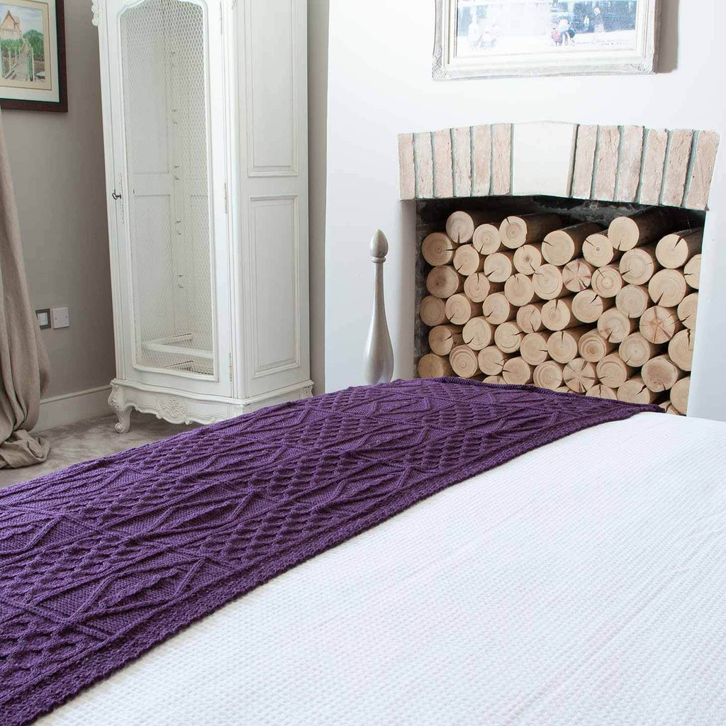 Chunky Aran Knit Throw Damson -  - LIVING  from The Wool Company