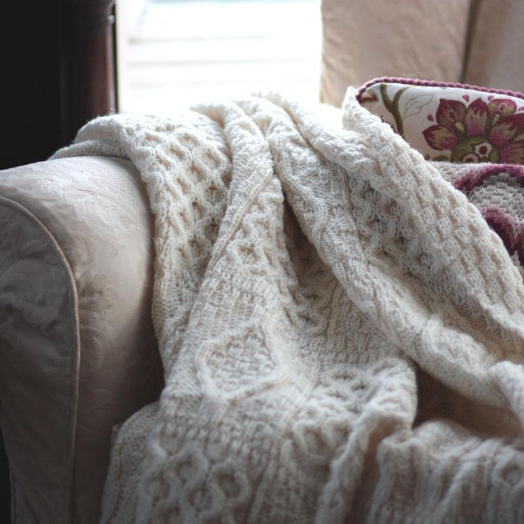 Buy Chunky Aran Knit Throw Ecru From The Wool Company Online