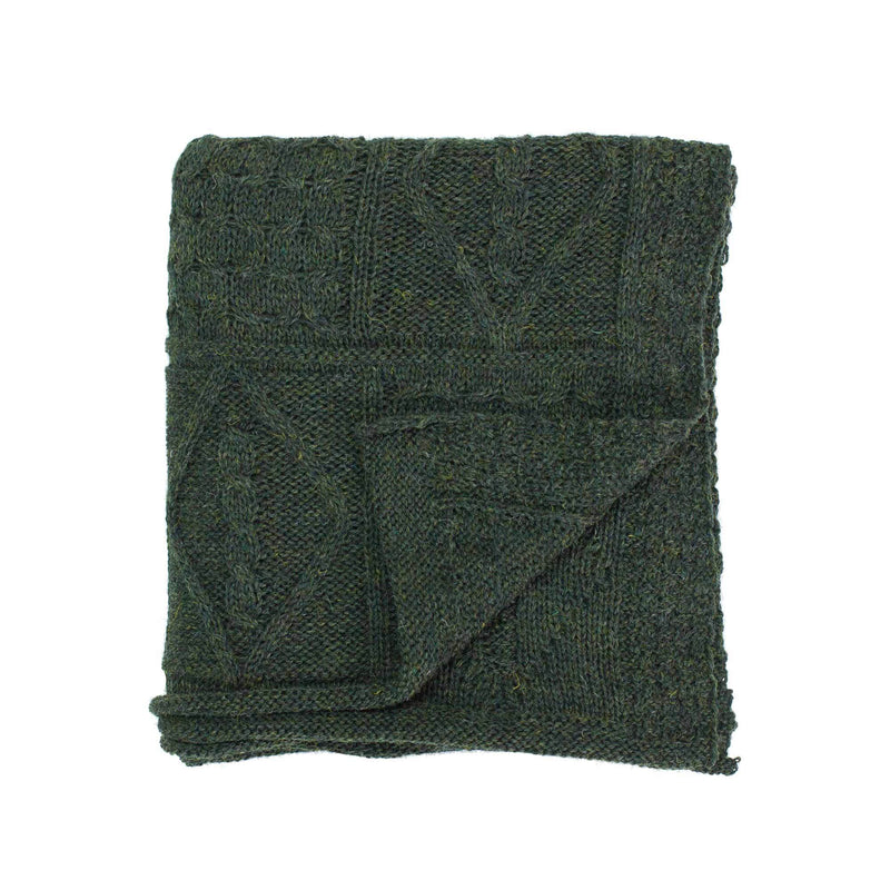 Buy Chunky Aran Knit Throw Juniper From The Wool Company Online