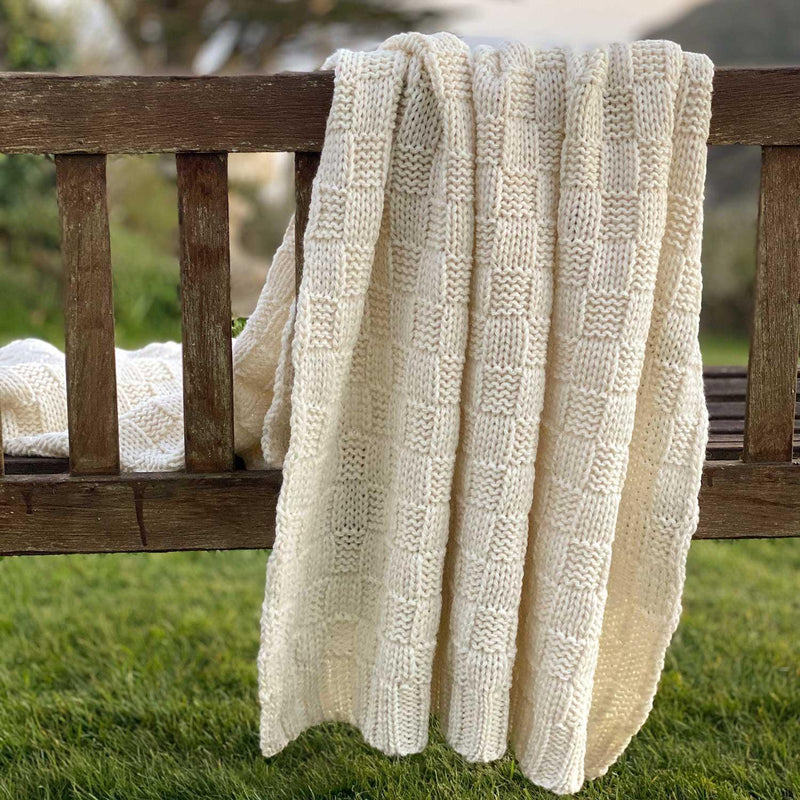 Chunky Basket Weave Wool Throw -  - LIVING  from The Wool Company