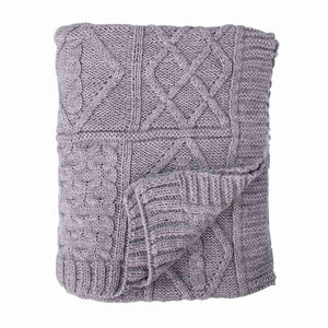Chunky Knit Aran Blanket Pebble -  - LIVING  from The Wool Company