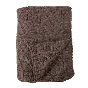 Chunky Knit Aran Blanket Sable -  - LIVING  from The Wool Company