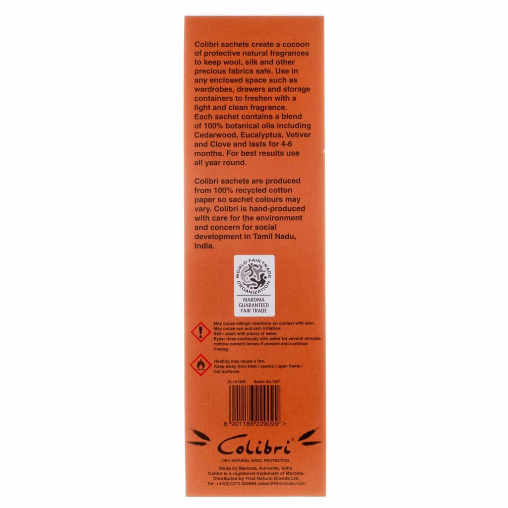 Buy Colibri Natural Anti-Moth 5 Sachet Pack in Cedarwood From The Wool Company Online