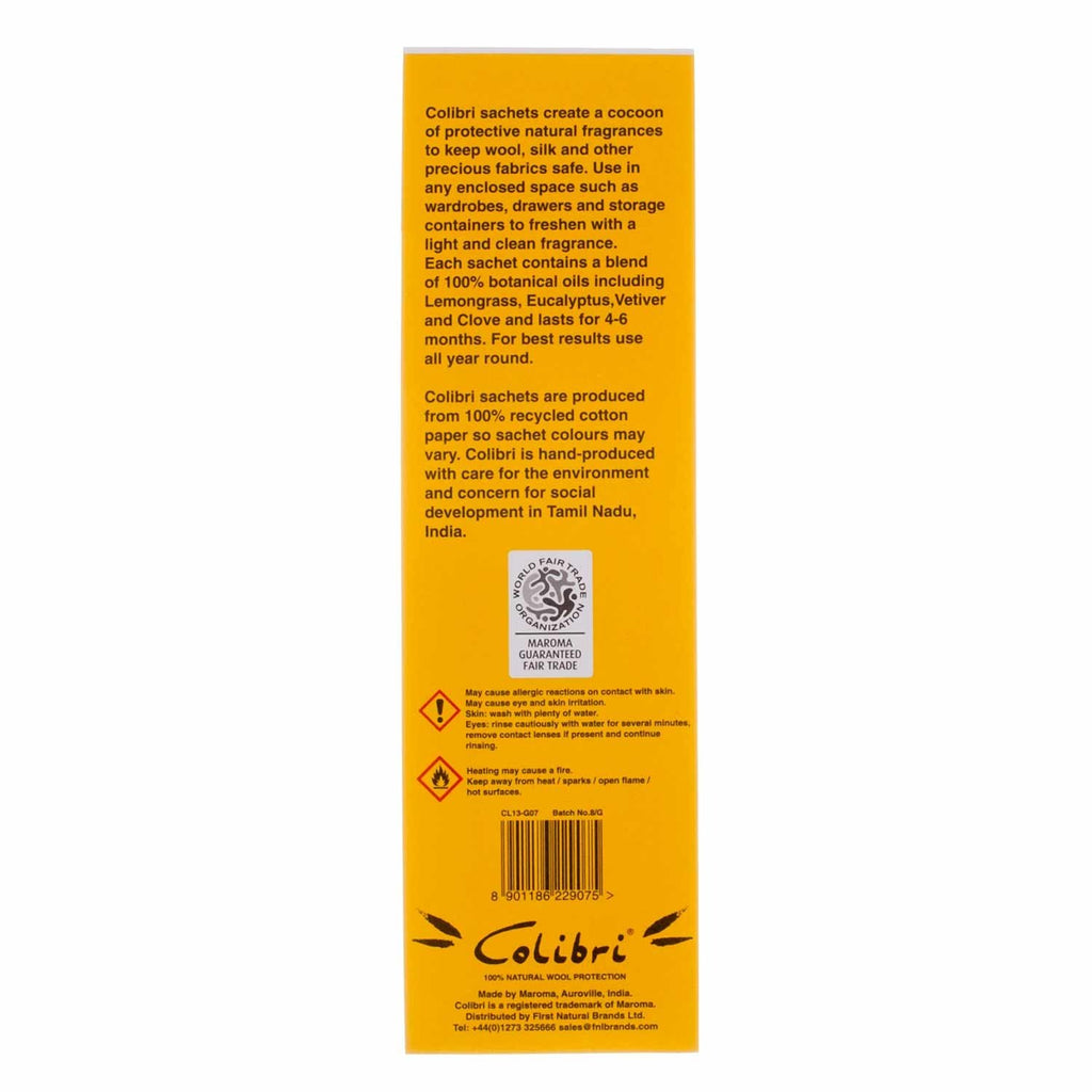Colibri Natural Anti-Moth 5 Sachet Pack in Lemongrass Wool Care The Wool Company