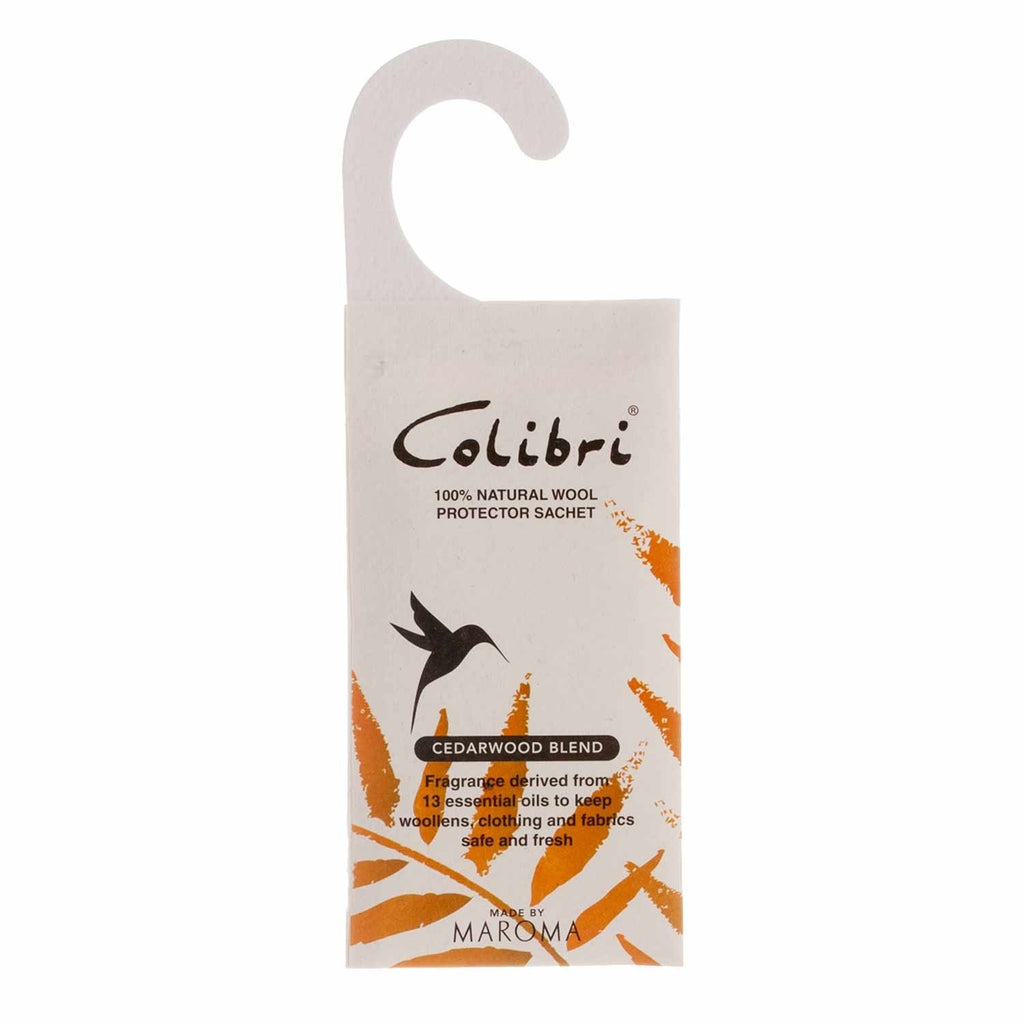 Colibri Natural Anti-Moth Hanging Wardrobe Sachet in Cedarwood Wool Care The Wool Company